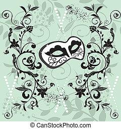 Ornate Venetian mask seamless pattern vector illustration