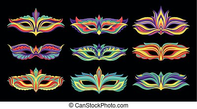 Masquerade party mask set, carnival face accessory vector Illustration on a black background