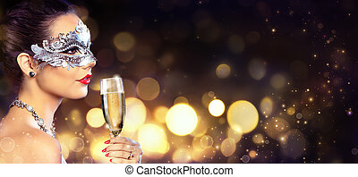 Masquerade Party - Sensual Woman With Mask And Champagne