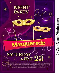 Masquerade poster, vector illustration