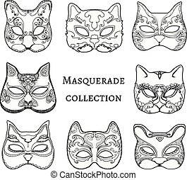 Masquerade. Set of hand drawn masks of cat.