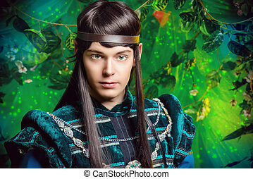 masquerade - Beautiful male elf in the magic forest....