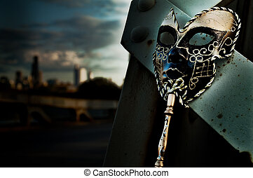 Masquerade - Venetian Mask on Vintage Bridge with City Skyline