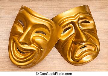 masques, à, les, théâtre, concept