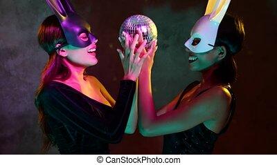 masques, asiatique, flirter, lapin, femmes, balle, petit, ...