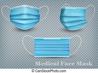 masques, coronavirus, monde médical, illustration., protéger, collection, vecteur, arrière-plan., réaliste, -19., isolé, figure, infection, covid, transparent, bleu