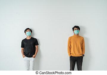 masques, social, distancing., gens