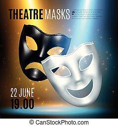 masques théâtraux, annonce, composition