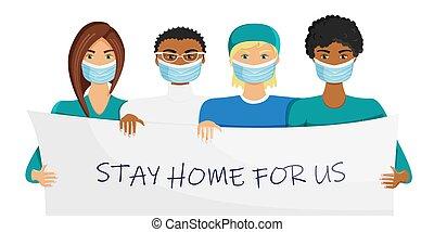 masques, vecteur, groupe, illustration, médecins
