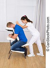 massøse, massaging, mand, skulder