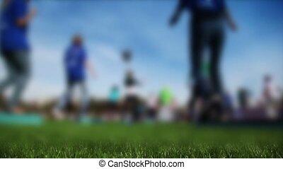 Mass fitness at stadium in sunny autumn day