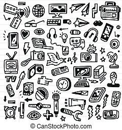 mass-médias, -, doodles, ensemble