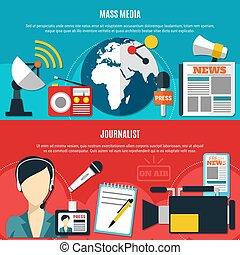 Mass Media And Journalist Horizontal Banners - Mass media...