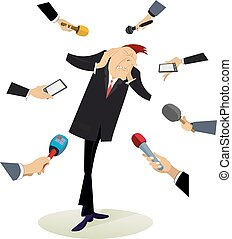 Mass media and tired and upset man illustration - Hands of...
