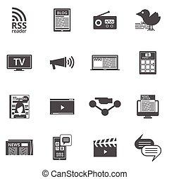 Mass media black icons set