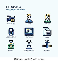 Mass Media - coloured modern single line icons set - Mass...