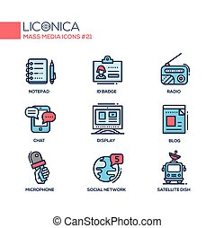 Mass Media - coloured modern single line icons set. Notepad,...