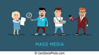 Mass Media Concept Banner Vector Illustration. - Mass media ...