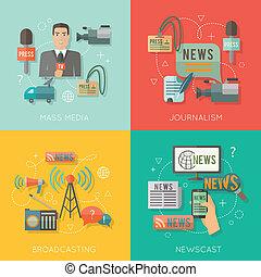 Mass media concept flat business composition - Mass media...
