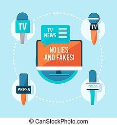 Mass Media Correspondent Flat Infographic Concept - Mass...