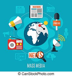 Mass Media Design Concept - Mass media design concept with...