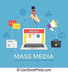 Mass media flat illustration concept. Laptop with online news website. Creative flat icons set, thin line icons set, graphic elements. Modern vector illustration