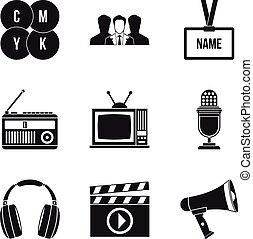 Mass media icons set, simple style