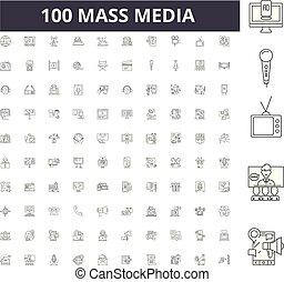 Mass media line icons, signs, vector set, outline illustration concept
