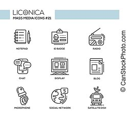 Mass Media - monochromatic modern single line icons set