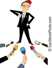Mass media obtain an interview from cheerful man...