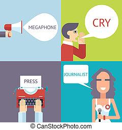 Mass Media Symbol Megaphone Speech Bubble Cry Man Boy Press Hand Typewriter Journalist Female Girl Icon on Stylish Background Modern Flat Design Template Vector Illustration