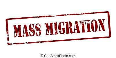 Mass migration - Rubber stamp with text mass migration...