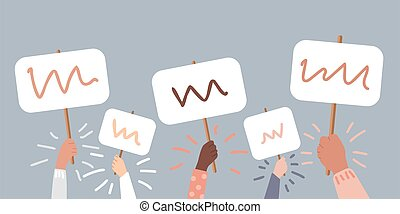 Mass Protest, people protesting about something, the protest board could be filled with text. Human hands up on the grey background. Vector cartoon colored modern flat illustration