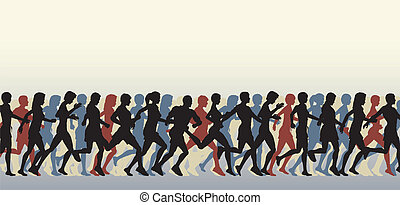 Editable vector foreground of people running with all figures as separate elements