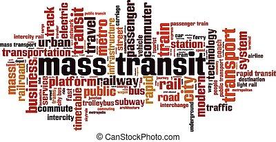 Mass transit word cloud concept. Vector illustration