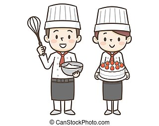 massa, gostosa, cozinheiro, fazer, bolo