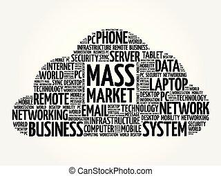 massa, markt, woord, wolk