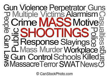 massa, shootings, woord, wolk