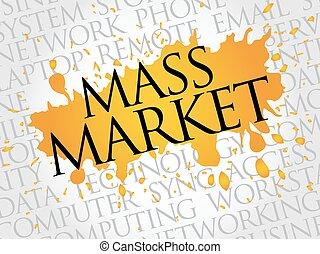 massa, woord, markt, wolk