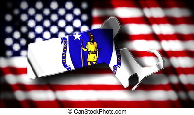 Massachusetts 03 - Flag of Massachusetts in the shape of...