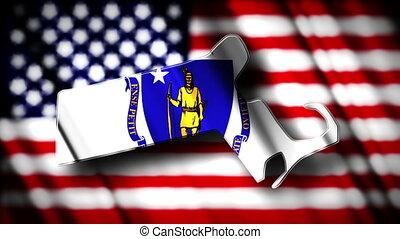 Massachusetts 03 - Flag of Massachusetts in the shape of...