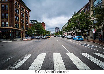 Massachusetts Avenue at Central Square in Cambridge, Massachusetts.