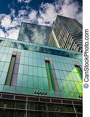 massachusetts., céntrico, moderno, rascacielos, boston
