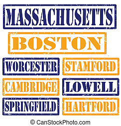 Massachusetts Cities stamps - Set of Massachusetts cities ...