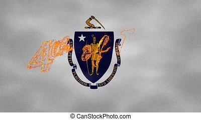 Massachusetts flag background for 4th of july sparkling fire lettering, loop