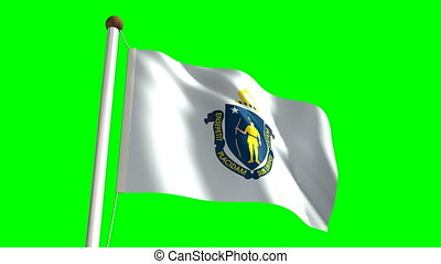 Massachusetts flag (with green scre - 3D Massachusetts flag...