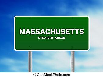 Massachusetts Highway Sign - Green Massachusetts, USA...