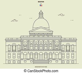 massachusetts, maison, repère, boston, état, icône, usa.