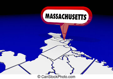massachusetts, maman, carte état, épingle, emplacement, destination, 3d, illustration