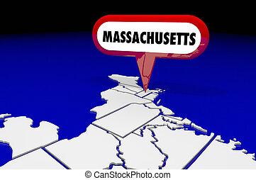massachusetts, maman, carte état, épingle, emplacement, destination, 3d, illustration